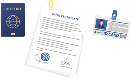 Graphics of a passport, birth certificate, and ID card